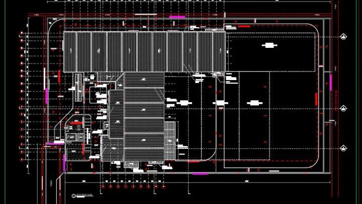 Steel Factory Site Roof Plan CAD Template DWG