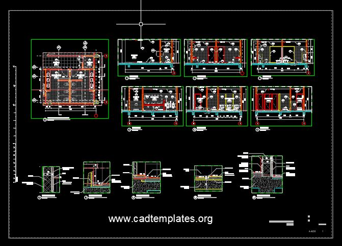 Toilet Office Elevations and Sections Details CAD Template DWG
