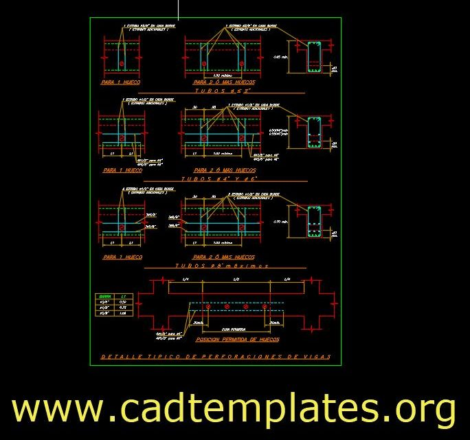 Typical Details Of Beam Drillings CAD Template DWG
