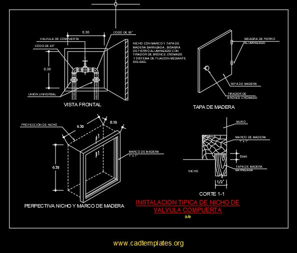 Typical Niche Installation Gate Valve CAD Template DWG
