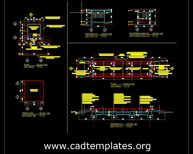 Weigh Bridge Cabin Plan and Elevations CAD Template DWG