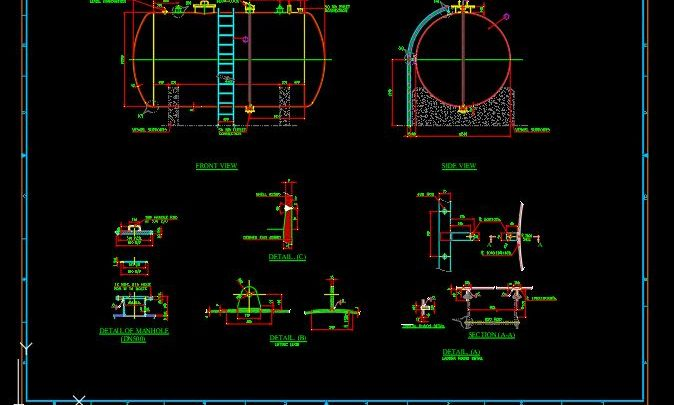 Acid Storage Tank Drawing Details CAD Template DWG