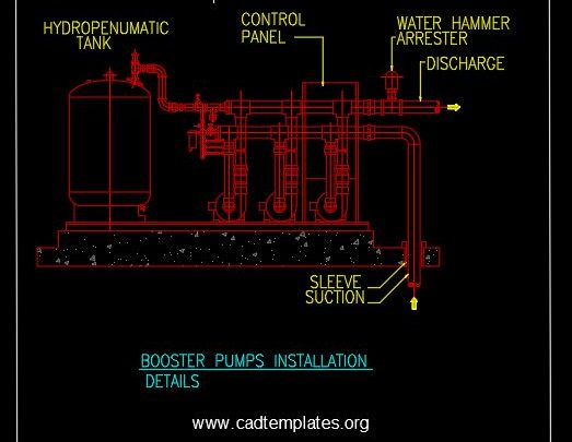 Booster Pumps Installation Details CAD Template DWG
