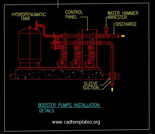 Booster Pumps Installation Details CAD Template DWG