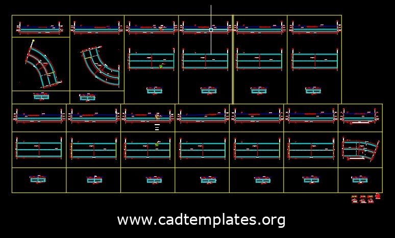 Box Culvert Curved Concrete Layout CAD Template DWG