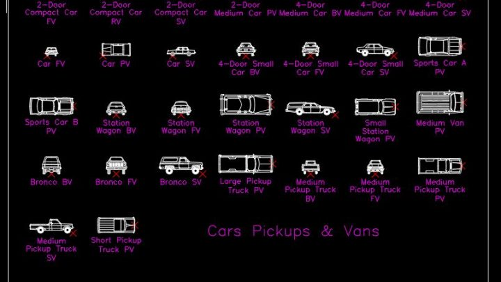 Cars Pickups and Vans Blocks CAD Template DWG