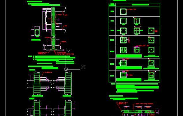 Column And Footing Standard Bar Arrangement CAD Template DWG