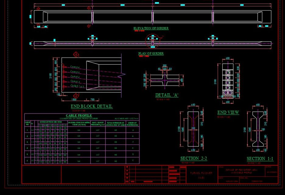 Details Of PSC Girder And Cable Profile CAD Template DWG