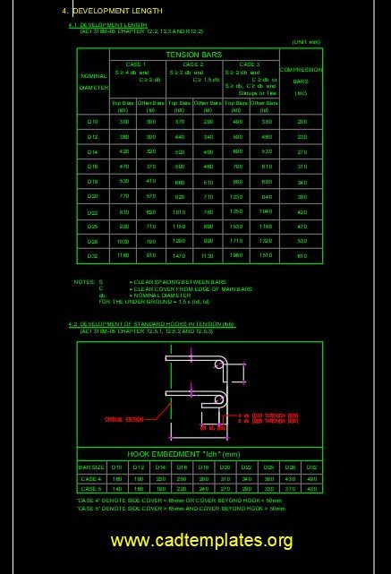 Development Length Of Tension Bars Standard CAD Template DWG