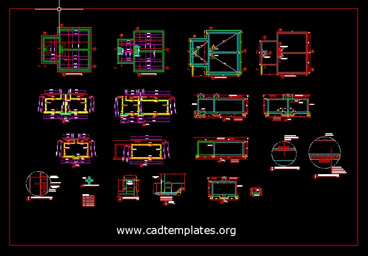 Firefighting Tank Reinforcement Details CAD Template DWG