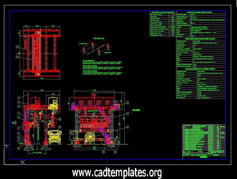 Gantry Grab Bucket Elevation and Section Details CAD Template DWG