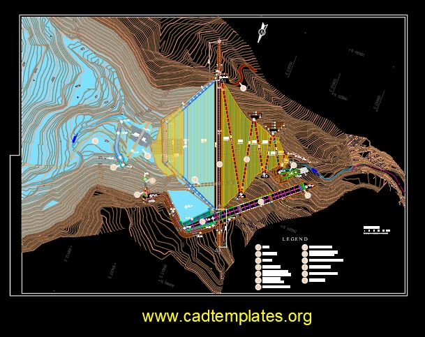 General Plan Of Reservoir Structure CAD Template DWG