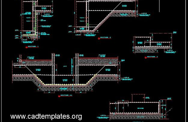 Lift Foundation Concrete Details CAD Template DWG