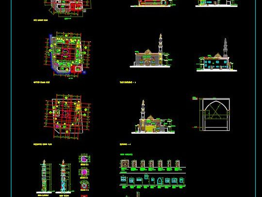 Mosque Minaret Elevation and Sections Details CAD Template DWG