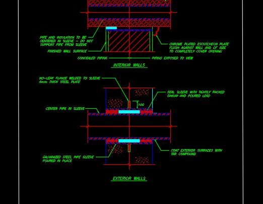 Pipe Sleeve Thru Walls Details CAD Template DWG