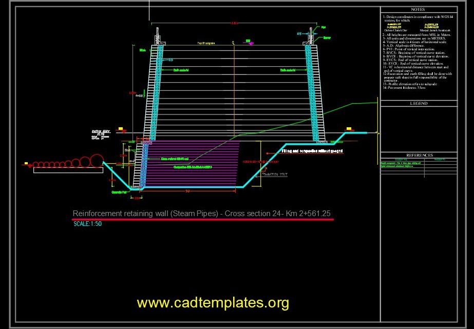 Reinforcement Retaining Wall - Steam Pipes Cross Section CAD Template DWG