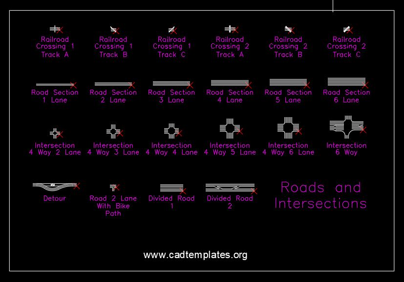 Roads and Intersections Details CAD Template DWG