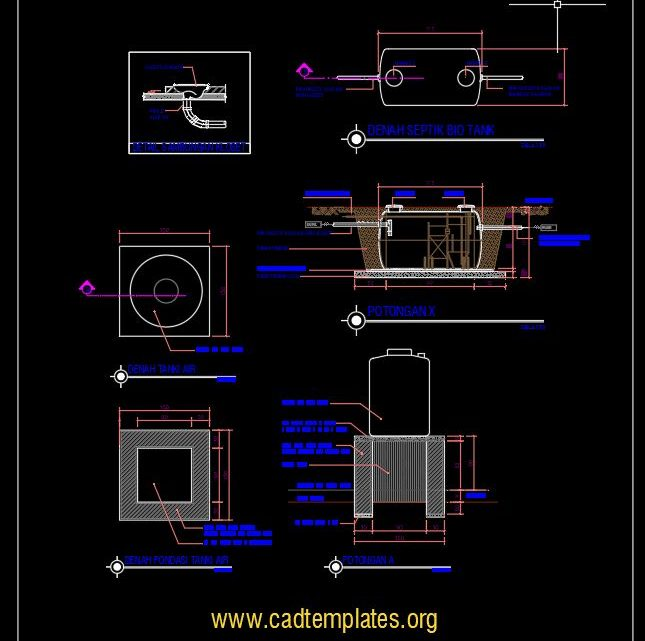 Septik Bio Tank Sections Details CAD Template DWG