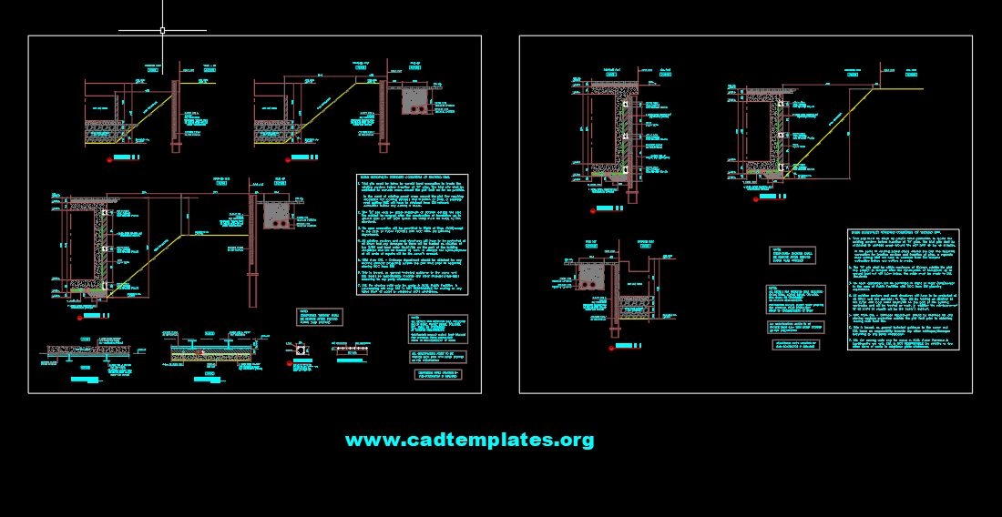 Shoring Layout and Sections Details CAD Template DWG
