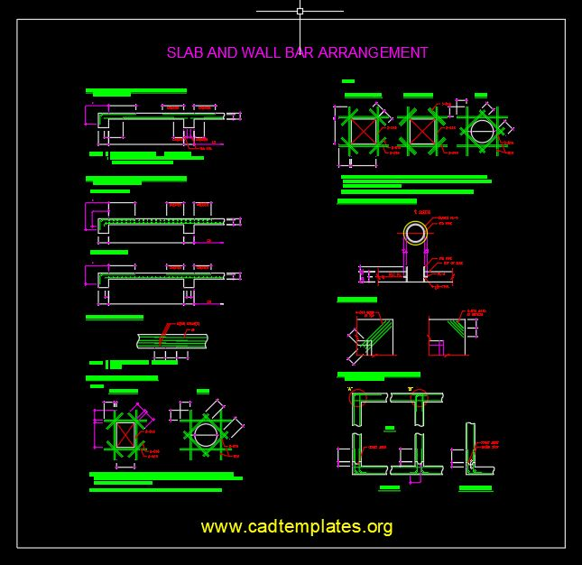 Slab And Wall Bar Arrangement Standard CAD Template DWG