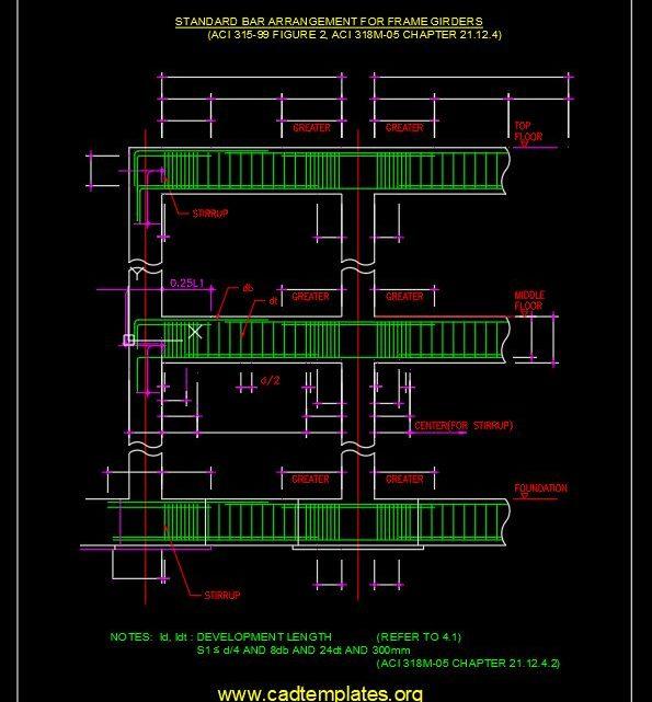 Standard Bar Arrangement For Frame Girders CAD Template DWG