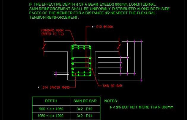 Standard Bar Arrangement For Skin Reinforcement CAD Template DWG