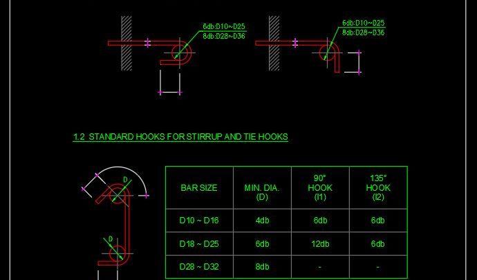Standard Hooks Details ACI 318M CAD Template DWG