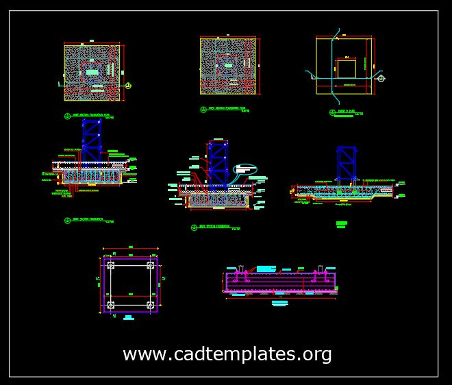 Tower Crane Foundation Details CAD Template DWG