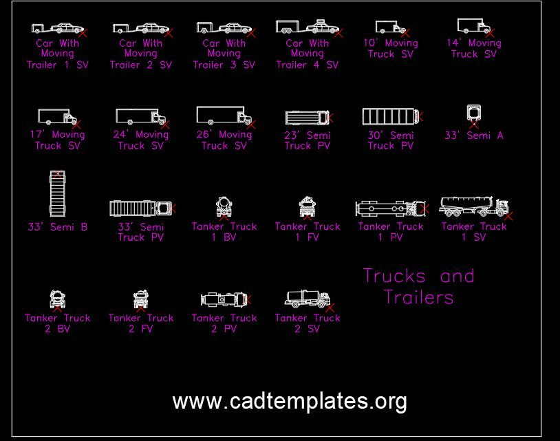 Trucks and Trailers Blocks CAD Template DWG