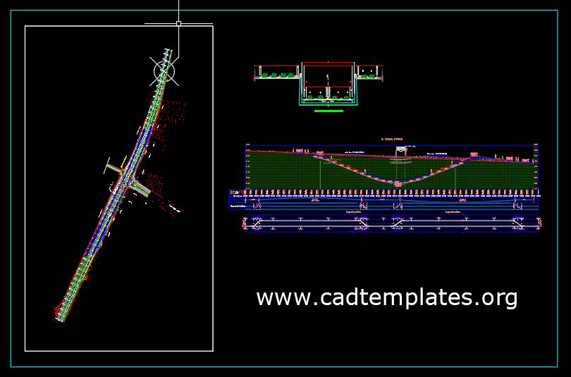 Tunnel Plan profile and Cross Section CAD Template DWG