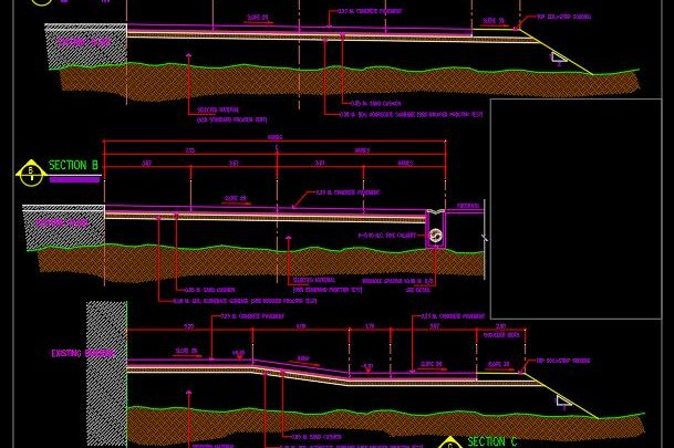 Typical Road Cross Section Details CAD Template DWG