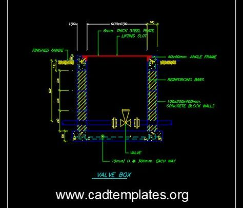 Valve Box Section Details CAD Template DWG