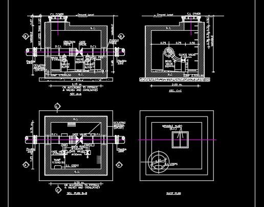 Washout Valve Chamber Details CAD Template DWG