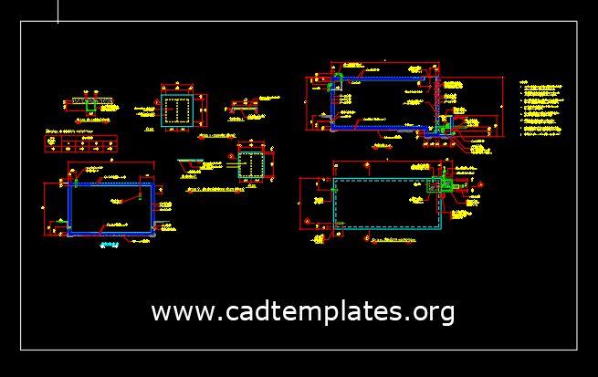 Water Tank Concrete Reinforcement Details CAD Template DWG