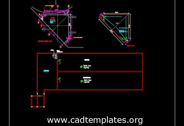 Water Tank Drainage Layout Plan CAD Template DWG