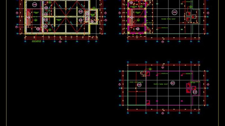 Water Tank Layout Plan and Sections Details CAD Template DWG