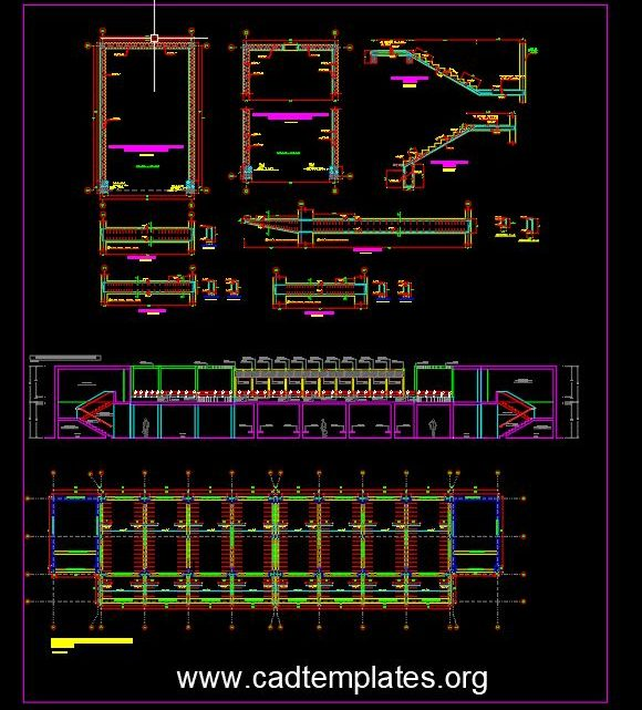Airport Staircase Elevation and Reinforcement Details CAD Template DWG