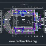 Basket Ball Stadium Layout Plan CAD Template DWG