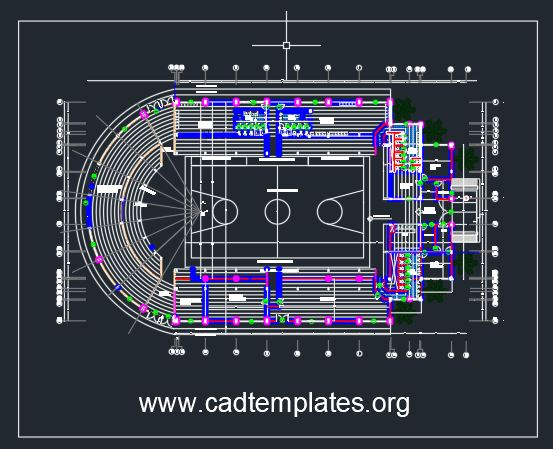 Basket Ball Stadium Layout Plan CAD Template DWG