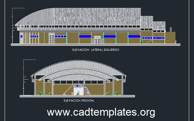 BasketBall Stadium Lateral and Frontal Elevation CAD Template DWG