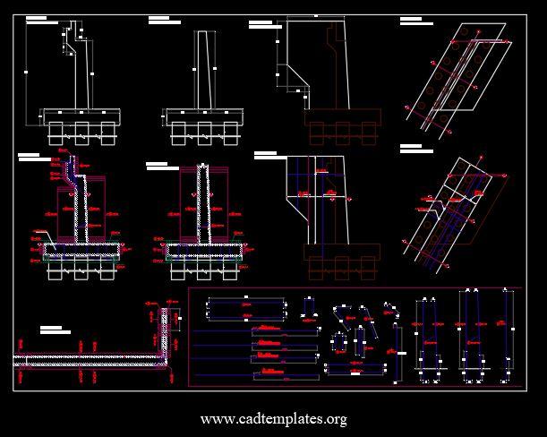 Bridge Abutment Reinforcement Details CAD Template DWG