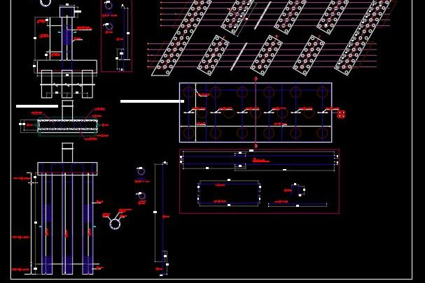 Bridge Pile Cap and Piles Reinforcement Details CAD Template DWG