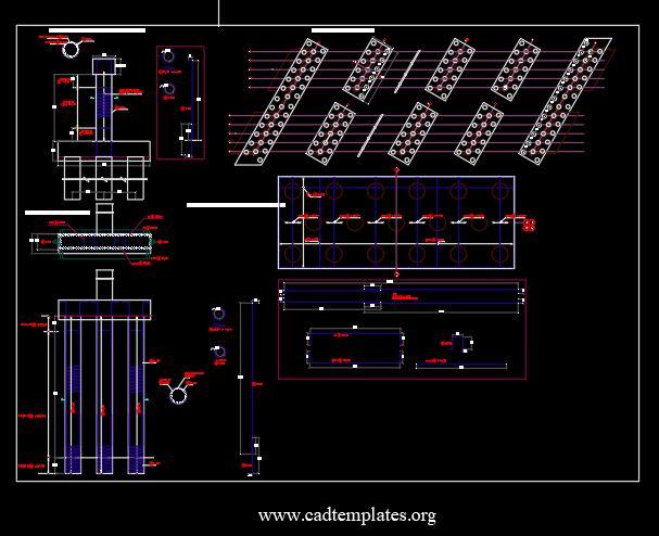 Bridge Pile Cap and Piles Reinforcement Details CAD Template DWG