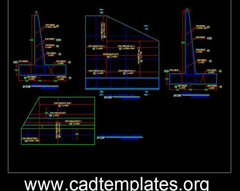 Bridge Retaining Wall Reinforcement Details CAD Template DWG