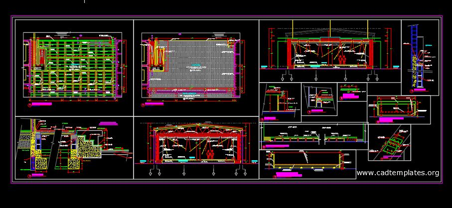 Coliseo Estrada Elevation and Sections Details CAD Template DWG