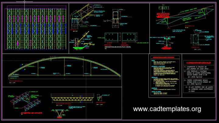Colosseum Steel Roof Elevation and Sections Details CAD Template DWG