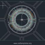 Cricket Stadium Drainage Layout Plan CAD Template DWG