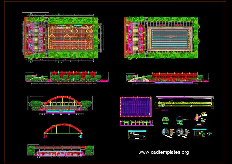 Dining Hall Steel Structural Layout and Sections Details CAD Template DWG