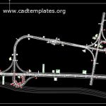 Double Trumpet Interchange With Tall Plaza Design CAD Template DWG