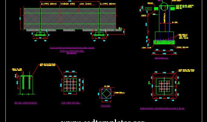 Elevation Of Fencing With Link Chain CAD Template DWG